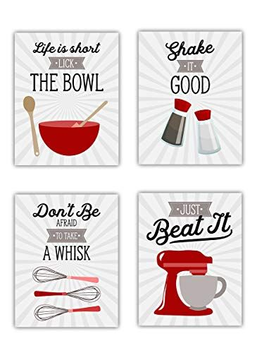 Red Retro Vintage Kitchen Wall Art Signs Set Of 4 8x10 Unframed Gray Red White Kitchen Utensil Prints Perfect For Rustic Modern Farmhouse Country Decor Red And White Kitchen Wall
