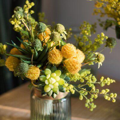 Canora Grey Artificial Bouquet Spring Floral Arrangement Wayfair In 2020 Yellow Flower Arrangements Yellow Spring Flowers Spring Floral Arrangements
