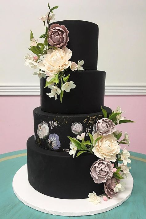 30 Stylish Black Wedding Cakes ❤ black wedding cake elegant black cake with flowers sugarjonesinc #weddingforward #wedding #bride