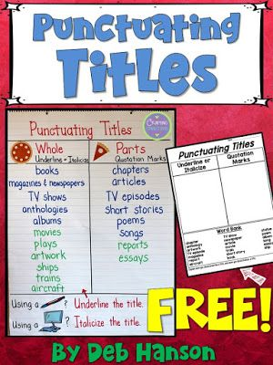 Pin By Nikki Renee On 5th Grade Reading In 2021 Anchor Charts How To Memorize Things Quotation Marks Punctuating titles worksheet 5th grade