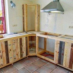 Fabriquer Des Meubles De Cuisine Avec Des Palettes En Bois Home Decor Kitchen Pallet Building Pallet Kitchen
