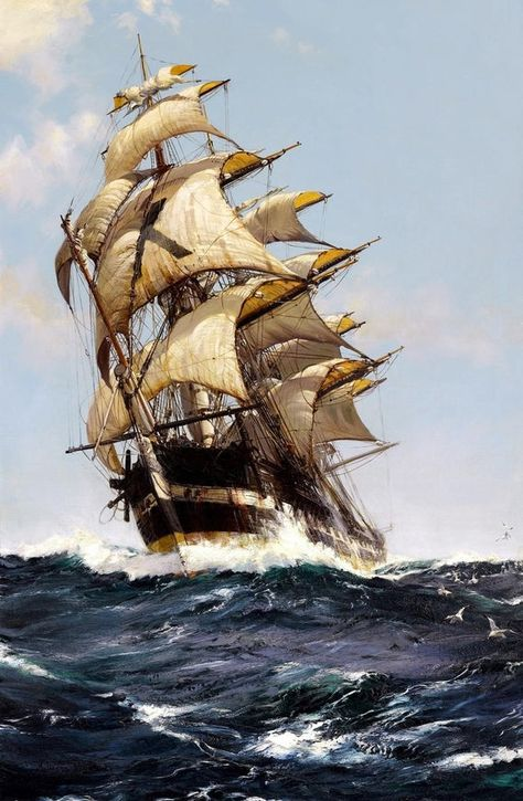 The Crest Of A Wave Painting by Montague Dawson Art Reproduction