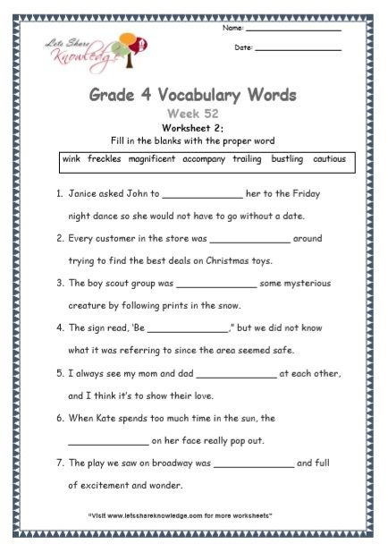 Grade 4 Vocabulary Worksheets Week 52 Vocabulary Worksheets