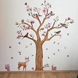 Wandsticker4u Wandtattoo Kinderzimmer Grosser Aquarell Baum Wandbild 170x145 Cm Wandsticker Eule Reh Wandtattoo Kinderzimmer Kinder Zimmer Kinderzimmer