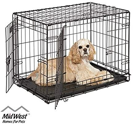 Midwest Homes For Pets Dog Crate Icrate Single Door Double Door Folding Metal Dog Crates 30 In 2020 Medium Dog Cage Dog Cages Dog Crate