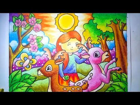 Cara Mewarnai Gradasi Crayon Oilpastel Deer Drawing And