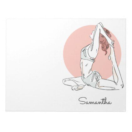 Yoga Woman Custom Name Notepad Zazzle Com Yoga Women Yoga Sketch Design