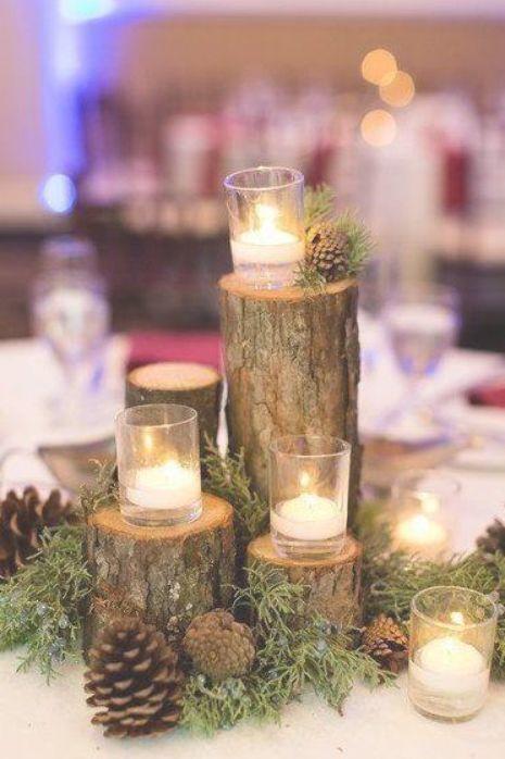 28 Brilliant Pinecone Wedding Decoration Ideas Winter Wedding Centerpieces Winter Wedding Decorations Wedding Table Flowers
