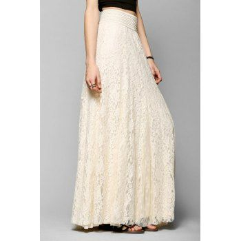 3b1e5bca248a5 Elegant High-Waisted Lace Maxi Skirt For Women (OFF-WHITE,XL) in Skirts |  DressLily.com