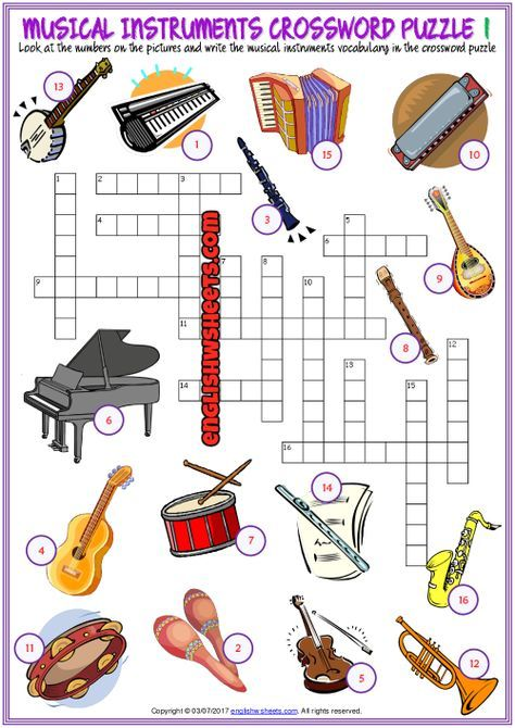 Musical Instruments Crossword Puzzle Esl Worksheets Atividades