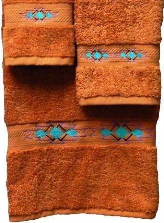 Taos Southwestern 3 Piece Towel Set Papaya Towel Set Southwestern Decorating Southwest Decor
