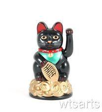 "Beckoning Black Fortune Lucky Cat 3.5/"" Maneki Neko"