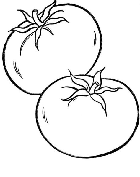 Healthy Tomato Vegetables Coloring For Kids Paginas Para Colorir