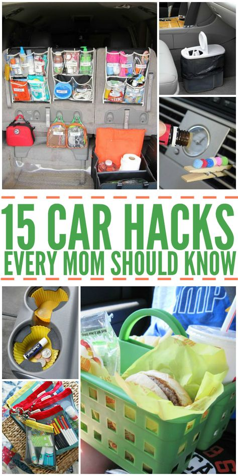 DIY House Hacks – One Crazy House – Tips and Organization Ideas for Your Home When you're hauling kids in the car, things can get messy. These car hacks can save your sanity. Get organized and enjoy a better traveling experience! Car Life Hacks, Car Hacks, Road Trip Hacks, Home Hacks, Road Trip Food, Road Trip Essentials, Best Road Trip Snacks, Road Trip Checklist, Purse Essentials