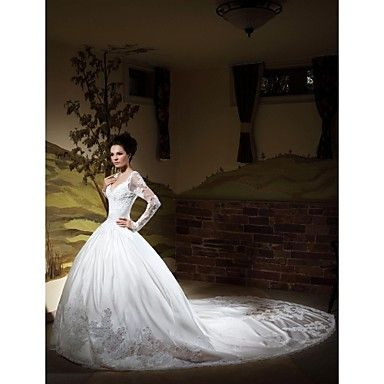Ball Gown V-neck Long Sleeves Chapel Train Satin Wedding Dress – CAD $ 389.44