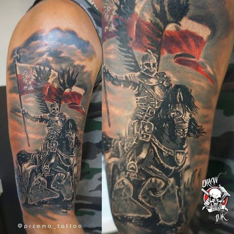 Warrior On Horse Black Ink 3d Tattoo On Left Shoulder