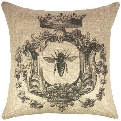 August Grove Dellwood French Bee Burlap Throw Pillow Burlap Throw Pillows Throw Pillows Burlap Pillows