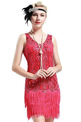 BABEYOND Flapper Vestidos Mujer Estilo 1920 Vestido Vintage con Cuello en V con Flecos de Cuentas Vestido Gran Gatsby