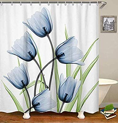 Amazon Com Livilan Shower Curtain Set With 12 Hooks Floral Bath