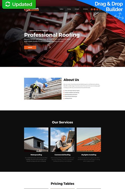 Proroofs Roofing Service Motocms 3 Landing Page Template 66376 Roofing Services Page Template Wordpress Theme Design
