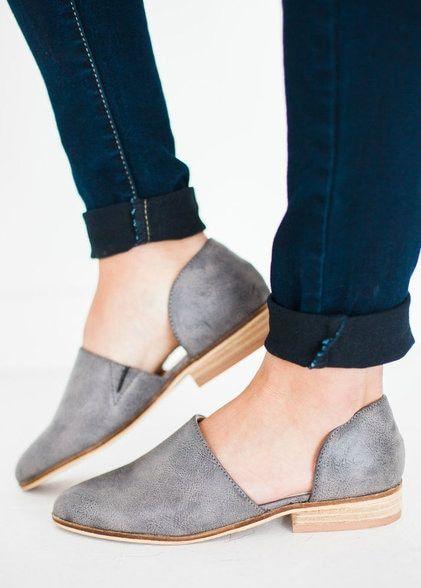 Carter Slip On Flats Grey   Women shoes