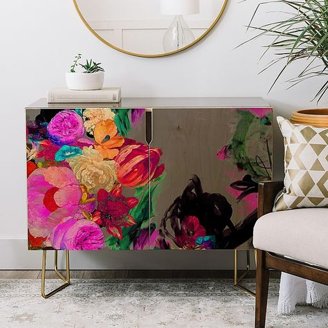 Buy Credenza with Floral Storm designed by Biljana Kroll. One of many amazing home décor accessories items available at Deny Designs. Art Furniture, Funky Painted Furniture, Furniture Makeover, Furniture Design, Floral Furniture, Patterned Furniture, Colorful Furniture, Plywood Furniture, Chair Design