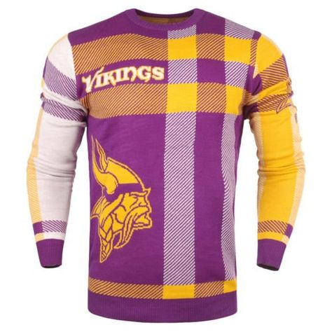 caa7378a2e2 Minnesota  Vikings Men s Plaid Crew Neck NFL Ugly Sweater