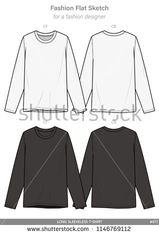 Download Long Sleeve T Shirts Fashion Flat Sketches Technical Drawings Teck Pack Illustrator Vector Template 패션 스타일 패션 플랫 패션 디자인