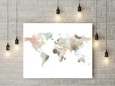 Rose gold world map poster large world map print faux foil map world map watercolor print large travel map large world map gift painting home decor fine art gumiabroncs Image collections