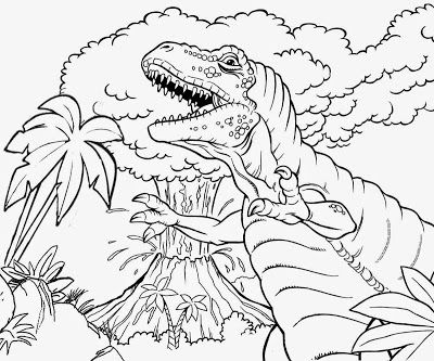 Tropical Jungle Plants Angry Jurassic King Tyrannosaurus Dinosaur And Volcano Erupting Coloring Pic Dinosaur Coloring Pages Dinosaur Coloring Coloring Pictures