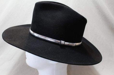 a023d39b Resistol Ambush 4X Beaver Fur Felt Black Western Hat 6 7/8 Self Conforming  by AtticEsoterica on Etsy