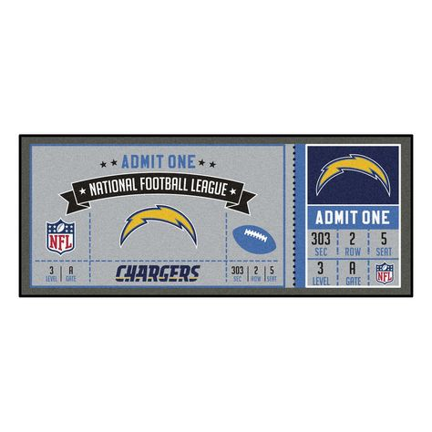 Nfl Los Angeles Chargers Ticket Runner 30 X72 Nfl Los Angeles Nfl Tickets Game Tickets