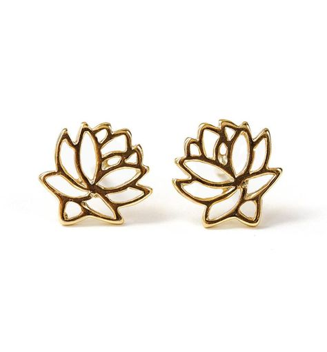 These gold stud earrings feature a beautiful lotus flower design, known for its different symbolisms. Wear alone for a unique yet feminine look. DETAILS - Gold over Sterling Silver - H in