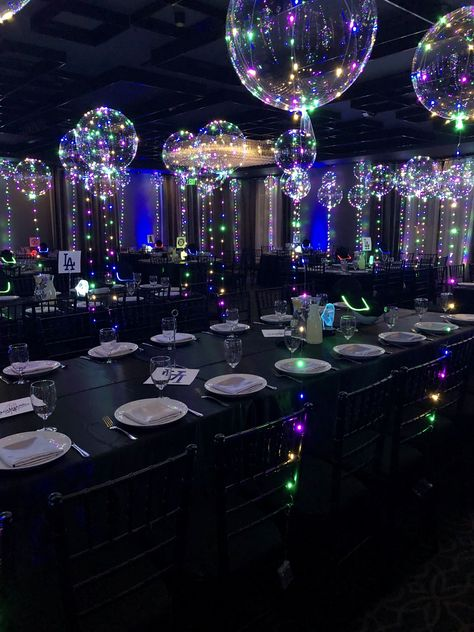 Magical Glow globes fill the room with color light for a Club Dance theme Dance Party Birthday, Birthday Club, 16th Birthday, Birthday Parties, Baseball Birthday, Baseball Party, Bat Mitzvah Party, Bar Mitzvah, Bat Mitzvah Themes