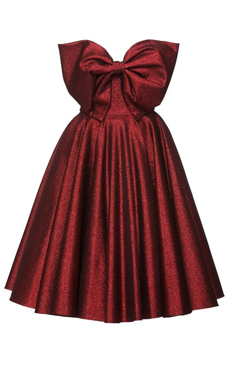 This **Lena Hoschek** Red Carpet Bow Dress features an exaggerated pleated bow with a full skirt. Full Skirt Dress, Full Skirts, Dress With Bow, Pleated Dresses, Skirt Pleated, Dress Red, Ribbon Skirts, Bustier Dress, Strapless Dress