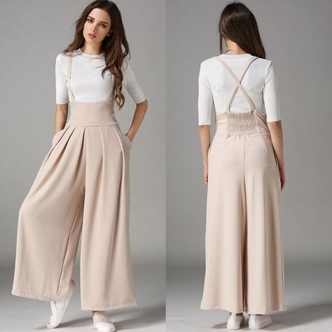 Best 12 Fashion Women's High Waist Suspenders Wide Leg Pants Casual suspender trousers woman – Woman Trousers