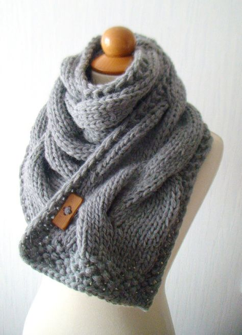 OMG....add to my Christmas list! Scarf Chunky Cowl Grey Thick Cabled Hand Knit by LaimaShop, $75.00