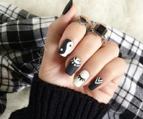 Black and white grunge hipster nails