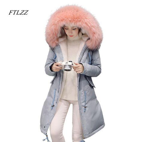 Fur Collar Hooded #Parkas Cotton
