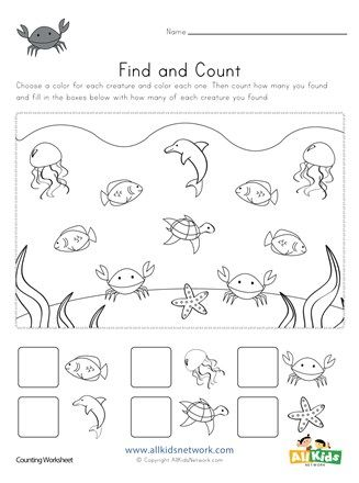Ocean Find And Count Worksheets All Kids Network Kindergarten Worksheets Kindergarten Math Worksheets Animal Worksheets