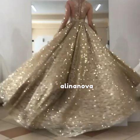 Bling Bling Wedding Dress Gold Sequin Ball Gown – alinanova