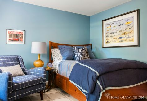Blue Boy Bedroom Before And After Reveal Plaid Chair Stripes Kids Room Study E