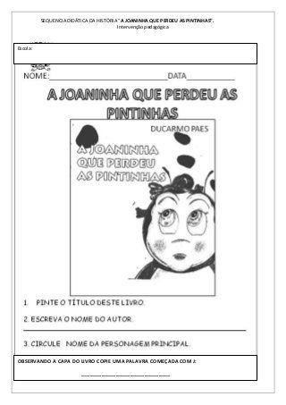 Sequencia Didatica Do Livro Aa Joaninha Que Perdeu As Pintinhas