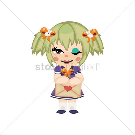Girl with an envelope vectors, stock clipart , #sponsored, #envelope, #Girl, #vectors, #clipart, #stock #affiliate