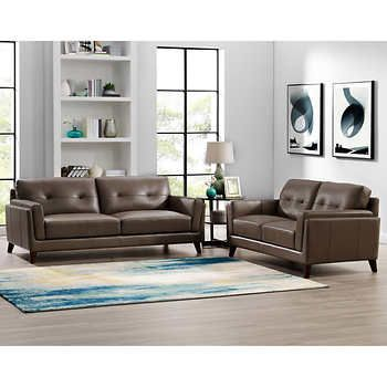 Monterey 2 Piece Top Grain Leather Set Sofa Loveseat Leather