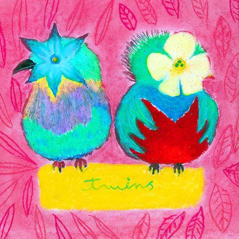 イラスト「美しい鳥」ケツァール・ライラックニシブッポウソウ