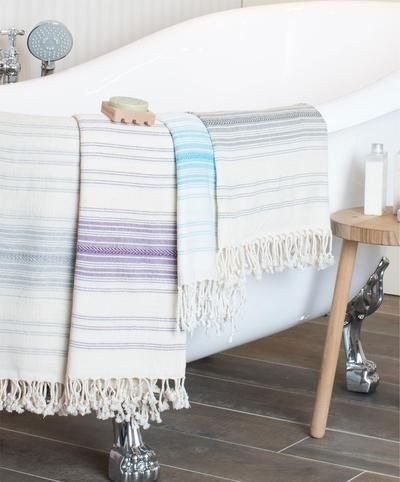 Ottoman Cotton Striped Turkish Towel With Fringes Turkish Bath