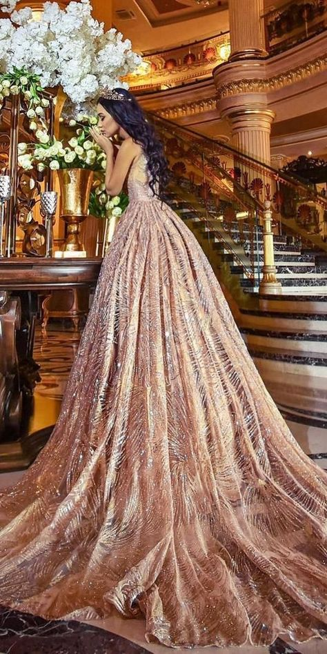 15 Gold Wedding Gowns For Bride Who Wants To Shine ❤️ gold wedding gowns ball gown rose sequins #weddingforward #wedding #bride