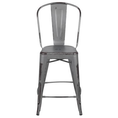 Carnegy Avenue 24 In H Distressed Silver Metal Outdoor Bar Stool