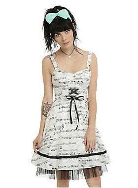 ivory  black music note dress  music dress fit flare